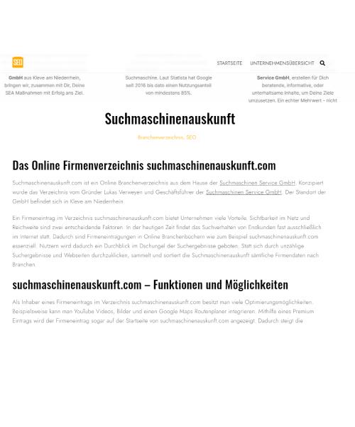 Suchmaschinen Auskunft - SEO-Branchenverzeichnis